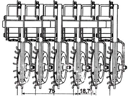 Схема расстановки сошников.